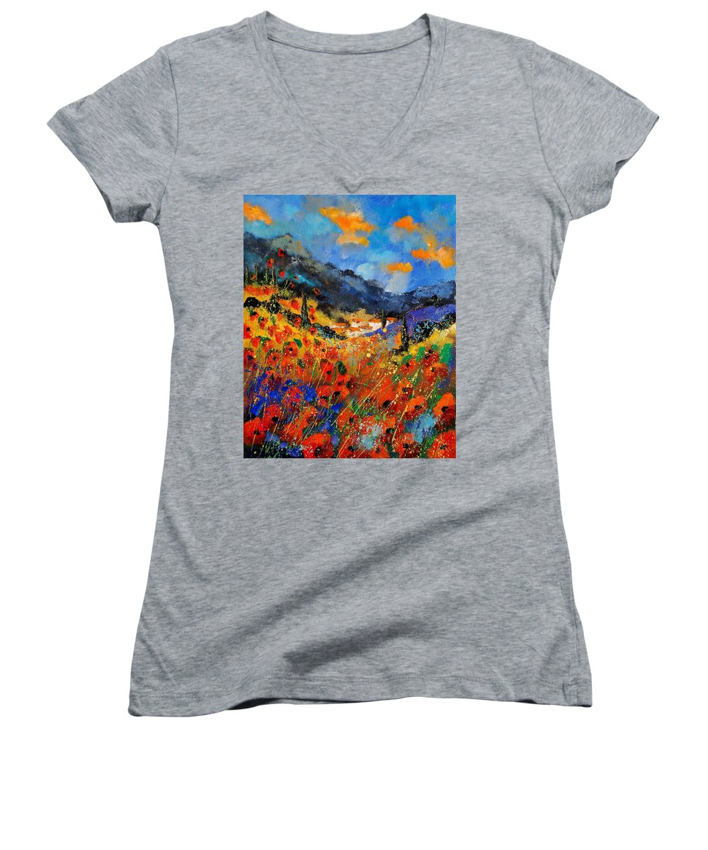 Women's V-Neck T-Shirt featuring the painting Provence 459020 by Pol Ledent