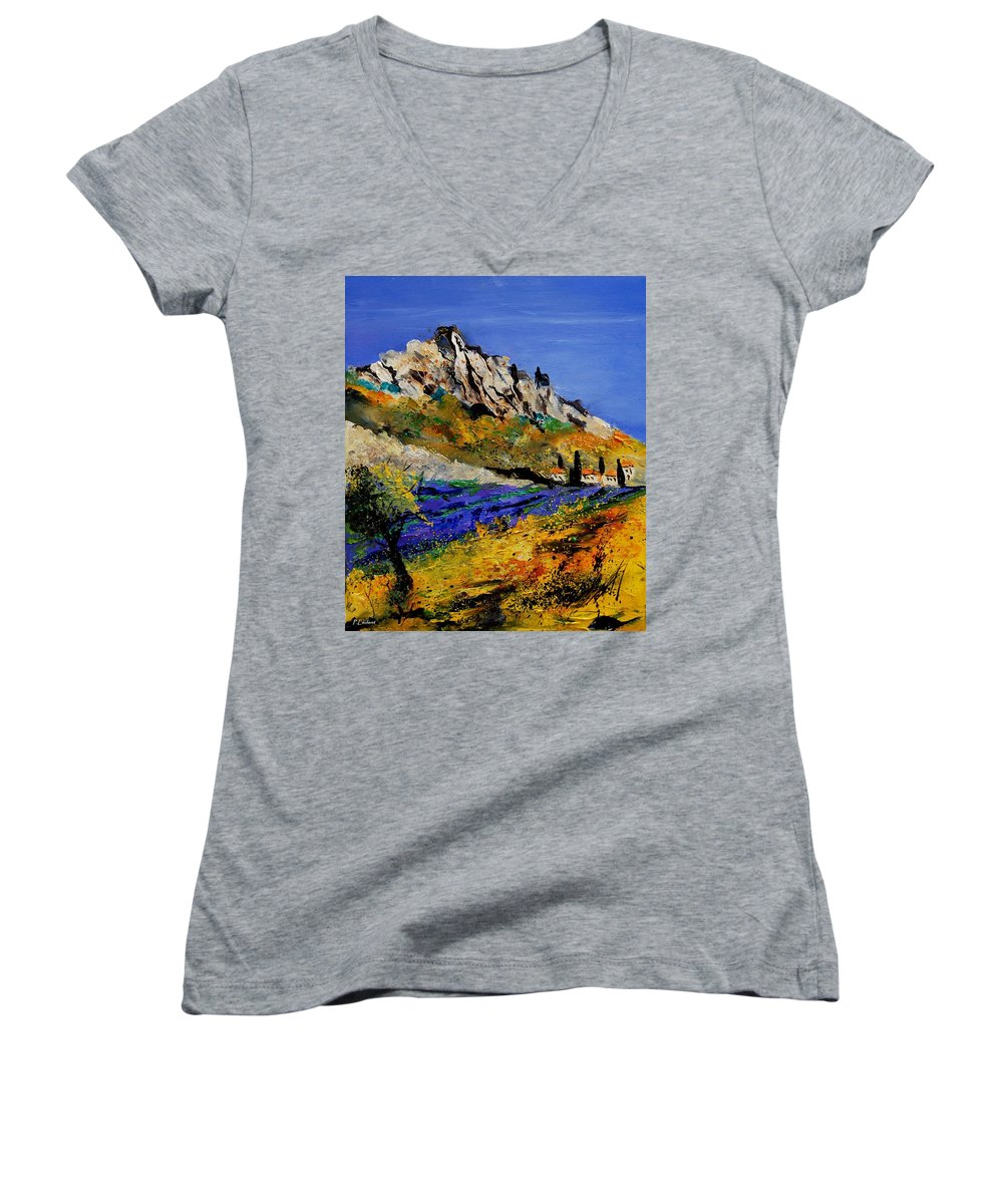 Flowers Women's V-Neck (Athletic Fit) featuring the painting Provence 560908 by Pol Ledent