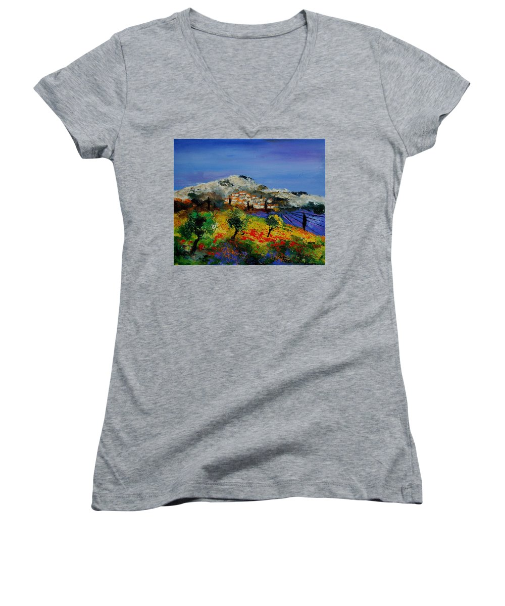 Provence Women's V-Neck (Athletic Fit) featuring the painting Provence 569010 by Pol Ledent