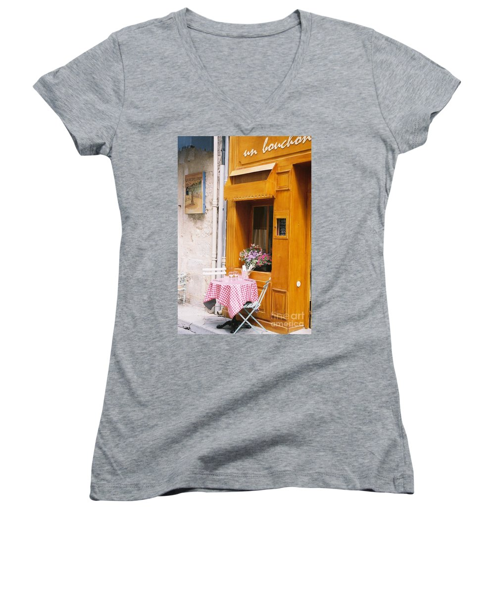 Cafe Women's V-Neck T-Shirt featuring the photograph Provence Cafe by Nadine Rippelmeyer