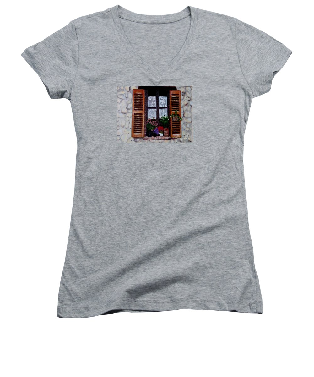 Provence Women's V-Neck T-Shirt featuring the painting Provence Morning by Laurie Morgan