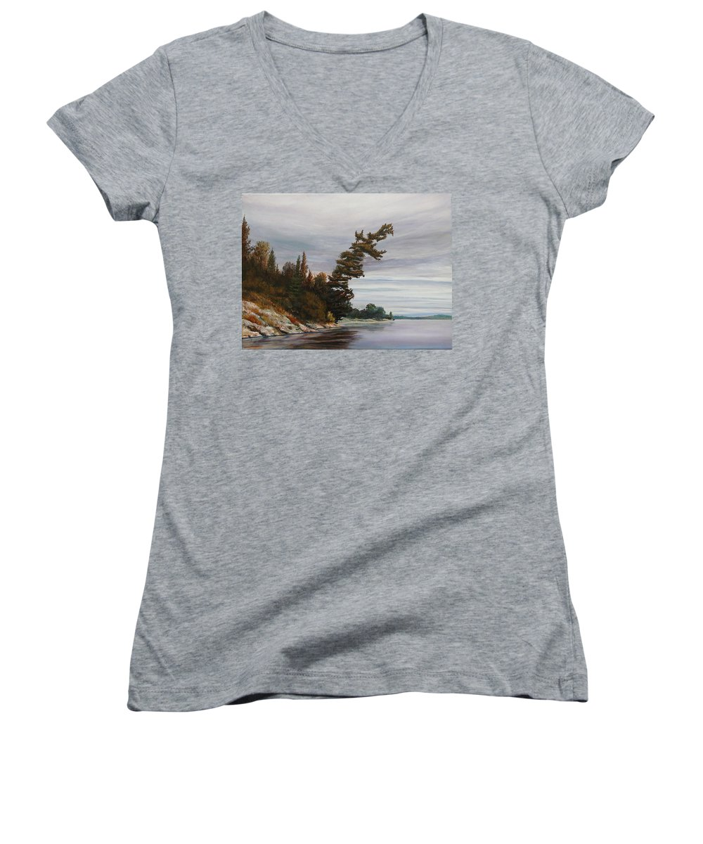 Landscape Women's V-Neck T-Shirt featuring the painting Ptarmigan Bay by Ruth Kamenev