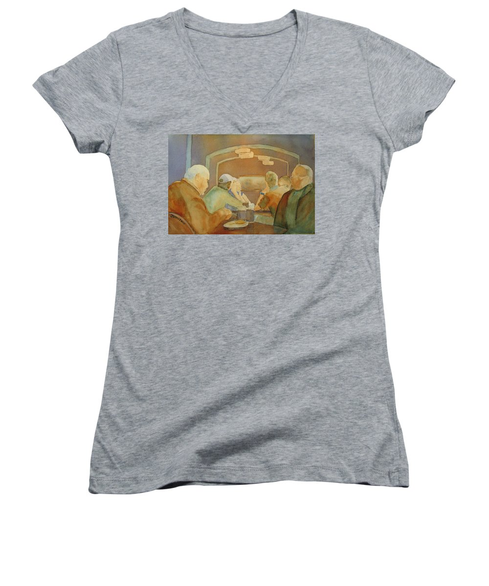 Men Women's V-Neck (Athletic Fit) featuring the painting Pub Talk II by Jenny Armitage