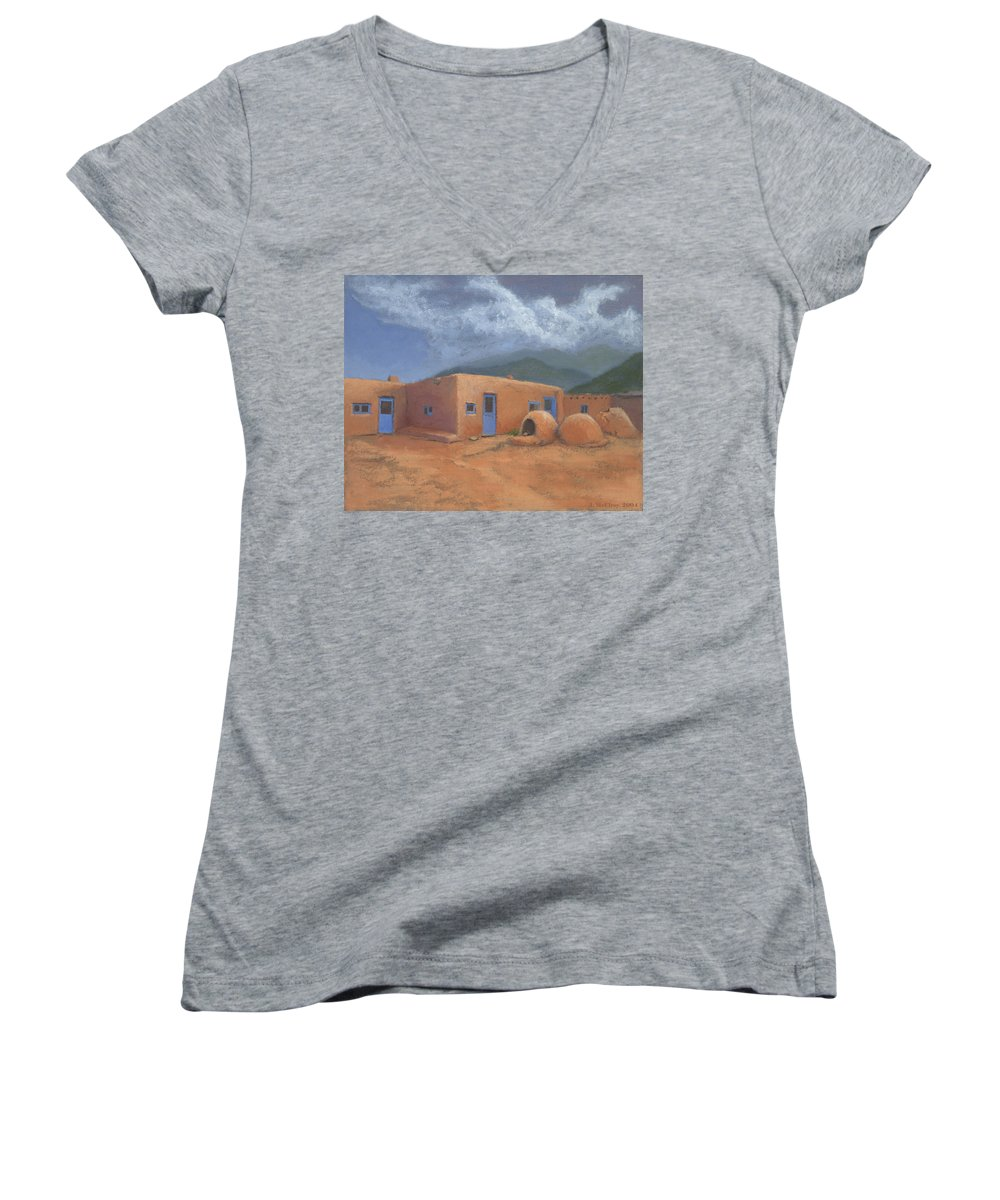 Taos Women's V-Neck T-Shirt featuring the painting Puertas Azul by Jerry McElroy