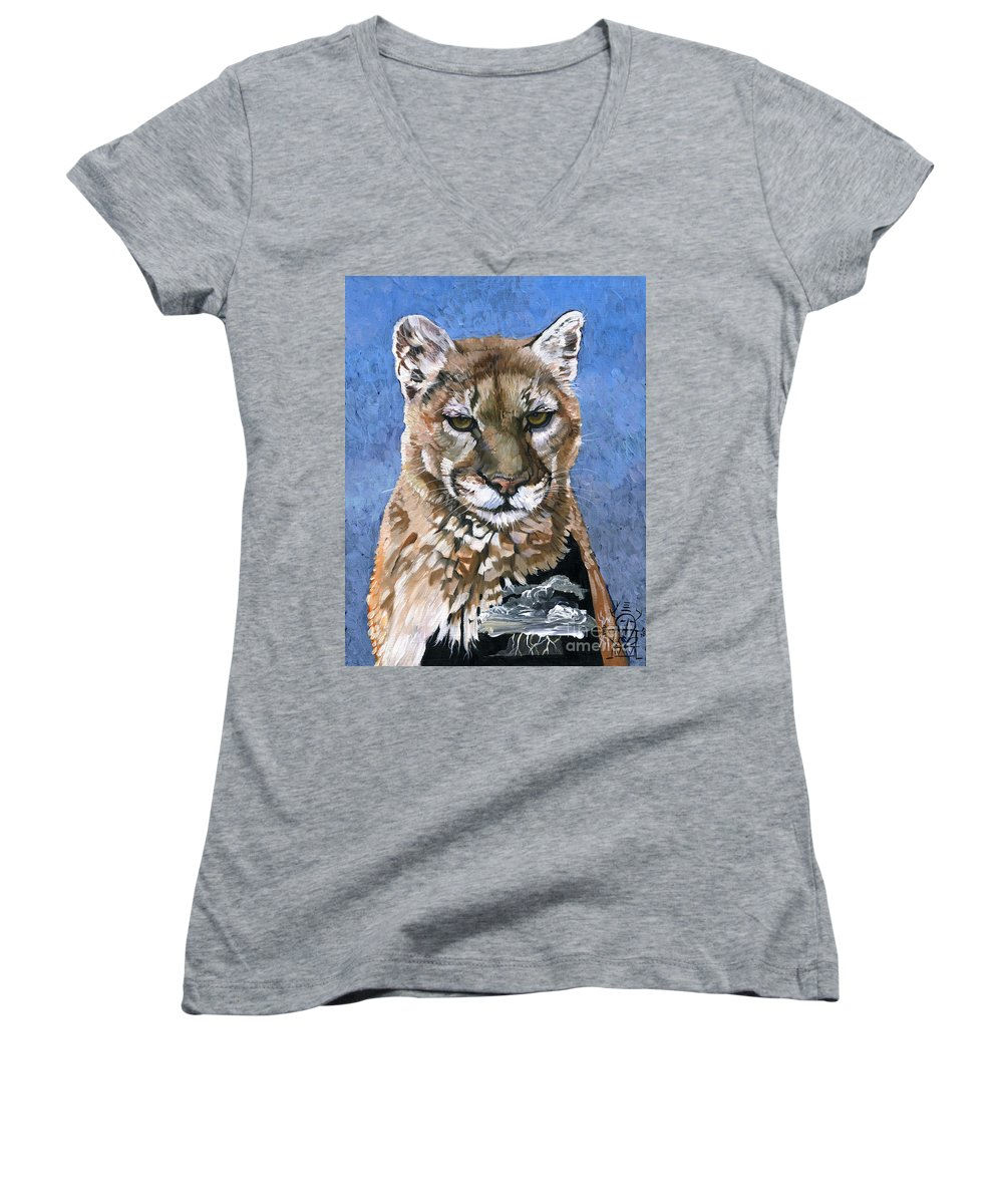 Puma Women's V-Neck T-Shirt featuring the painting Puma - The Hunter by J W Baker