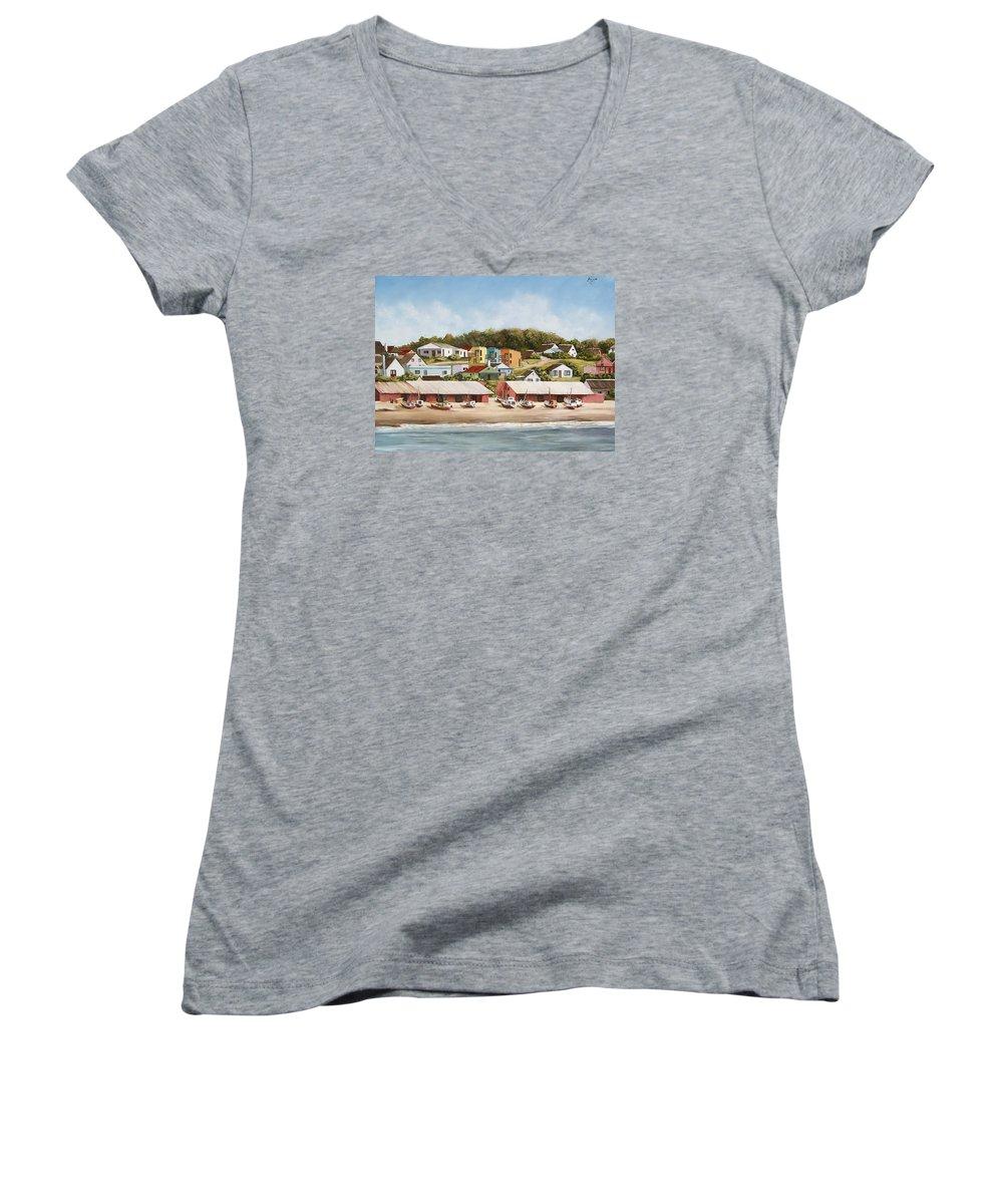 Landscape Seascape Uruguay Sea Seaside Boats Women's V-Neck T-Shirt featuring the painting Punta Del Diablo 2 by Natalia Tejera