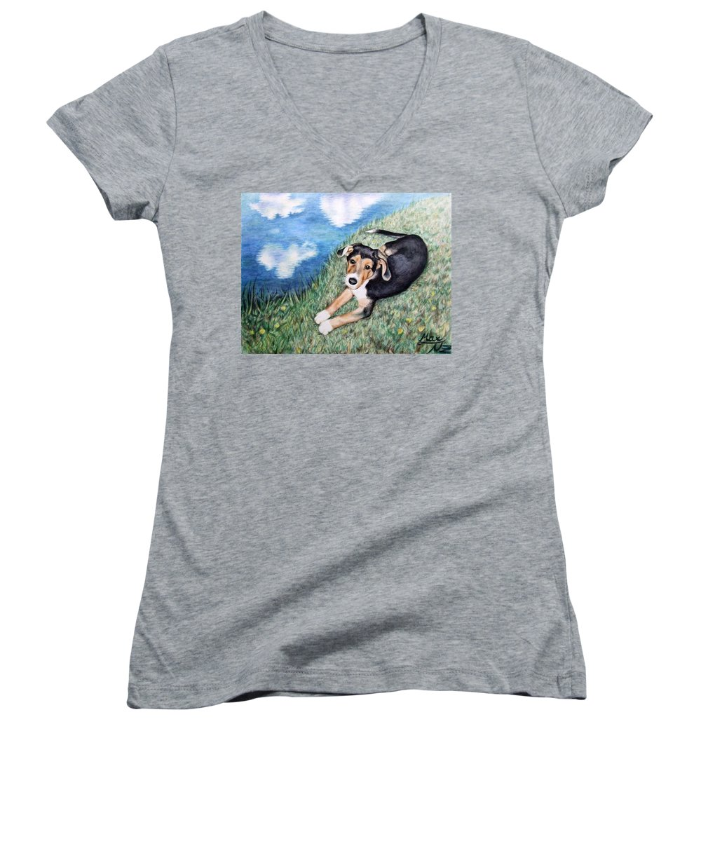 Dog Women's V-Neck (Athletic Fit) featuring the painting Puppy Max by Nicole Zeug