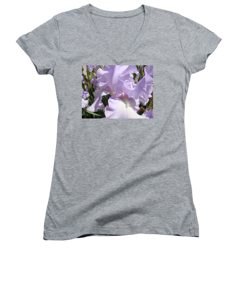 �irises Artwork� Women's V-Neck (Athletic Fit) featuring the photograph Purple Irises Artwork Lavender Iris Flowers 13 Botanical Floral Art Baslee Troutman by Baslee Troutman