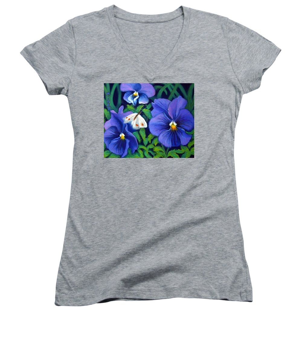 Pansy Women's V-Neck (Athletic Fit) featuring the painting Purple Pansies And White Moth by Minaz Jantz