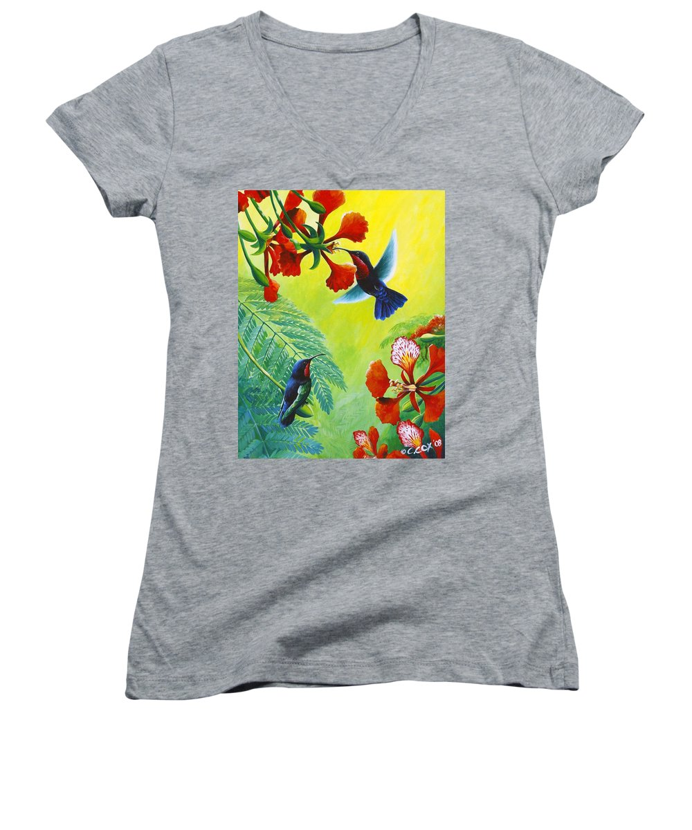 Chris Cox Women's V-Neck T-Shirt featuring the painting Purple-throated Caribs And Flamboyant by Christopher Cox