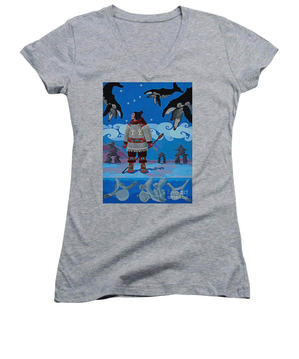 America Women's V-Neck featuring the painting Qikiqtaaluk Whale Dreamer by Chholing Taha
