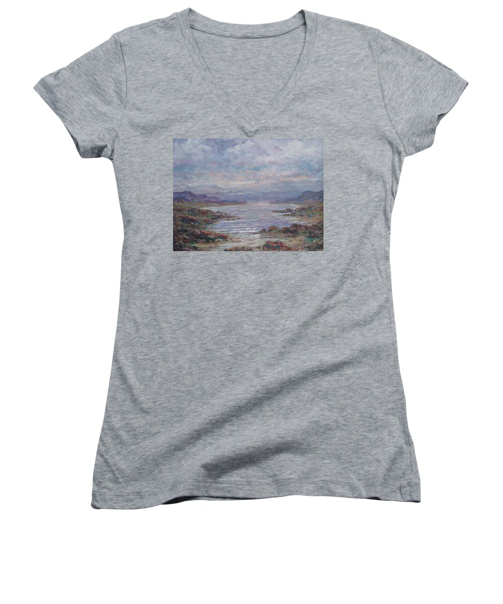 Painting Women's V-Neck (Athletic Fit) featuring the painting Quiet Bay. by Leonard Holland