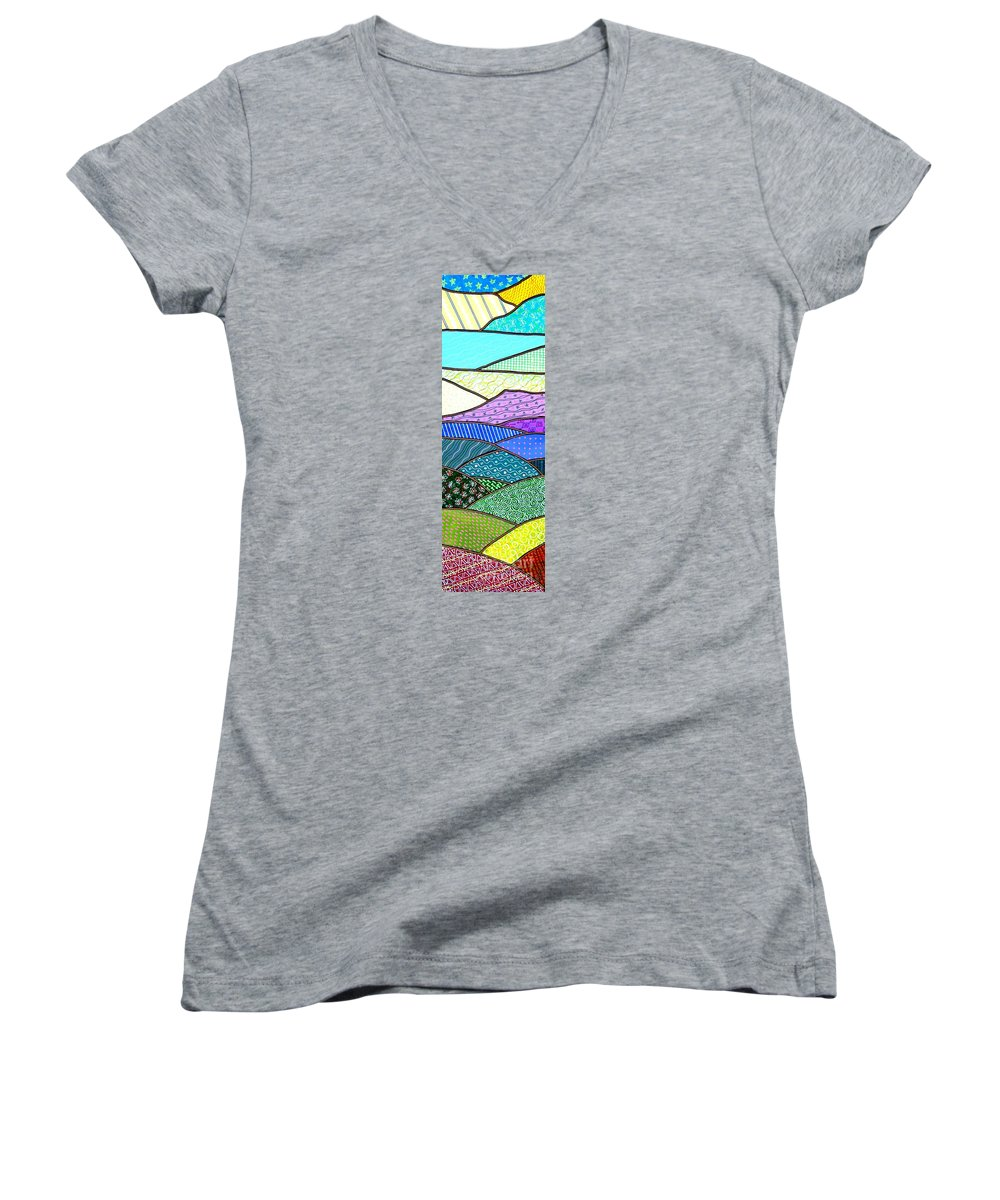 Mountain Women's V-Neck T-Shirt featuring the painting Quilted Mountain by Jim Harris