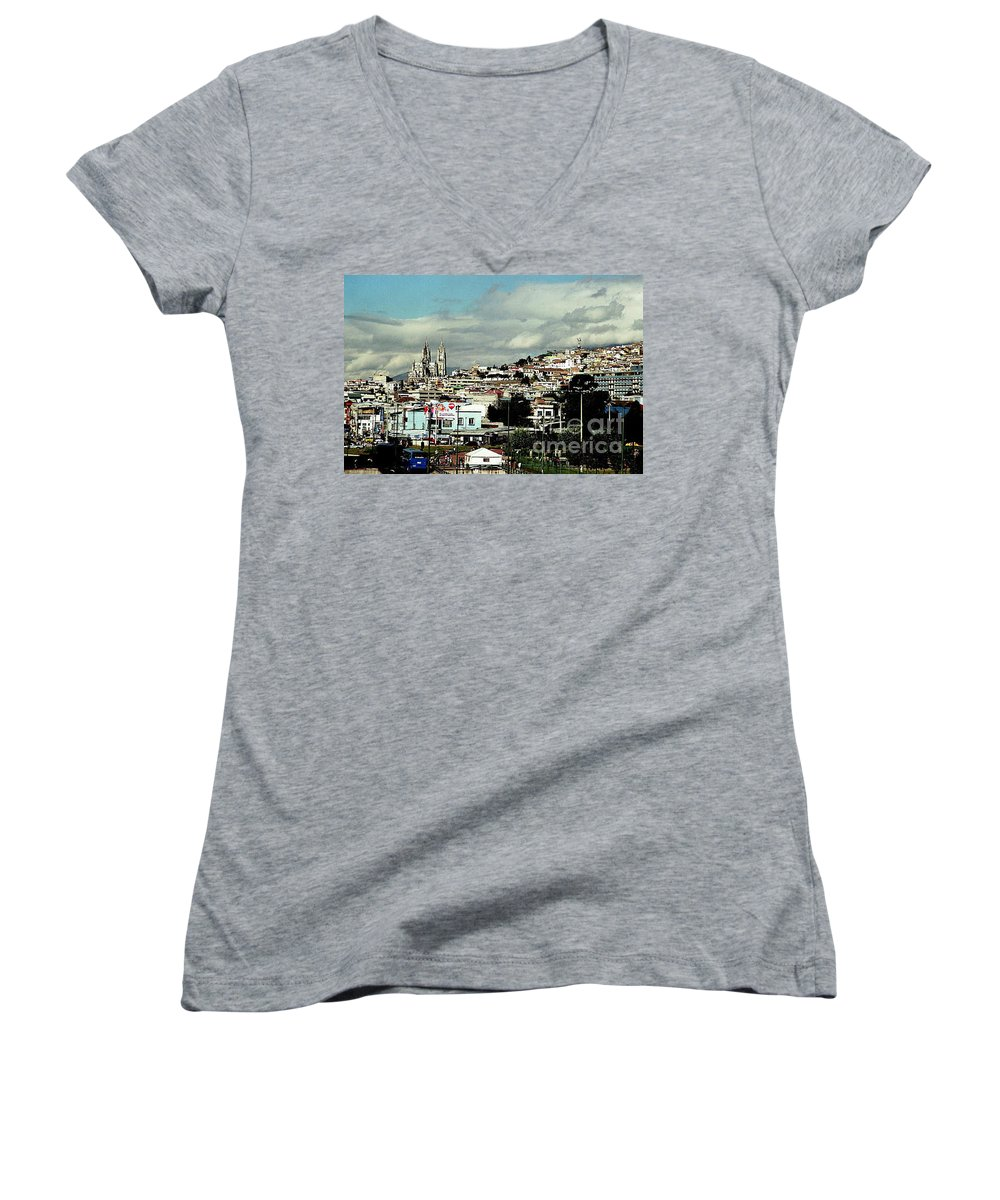 Ecuador Women's V-Neck T-Shirt featuring the photograph Quito by Kathy McClure
