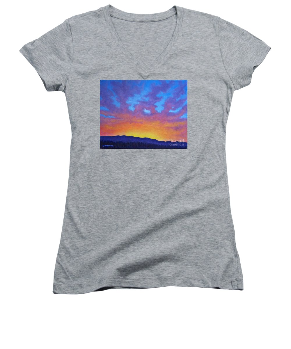 Landscape Women's V-Neck (Athletic Fit) featuring the painting Radiance by Brian Commerford