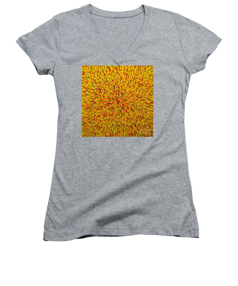 Abstract Women's V-Neck T-Shirt featuring the painting Radiation Yellow by Dean Triolo