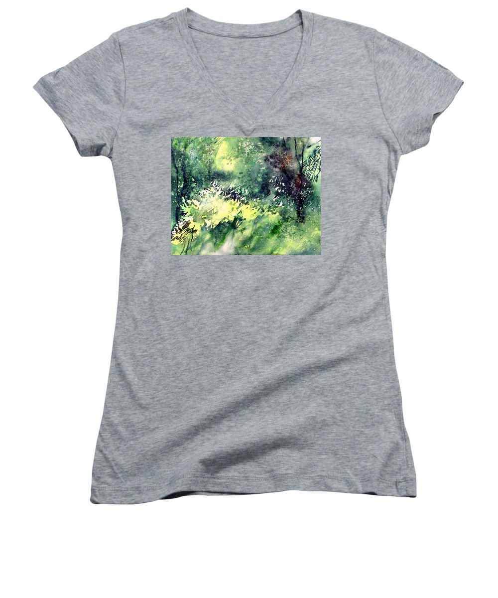Landscape Watercolor Nature Greenery Rain Women's V-Neck (Athletic Fit) featuring the painting Rain Gloss by Anil Nene