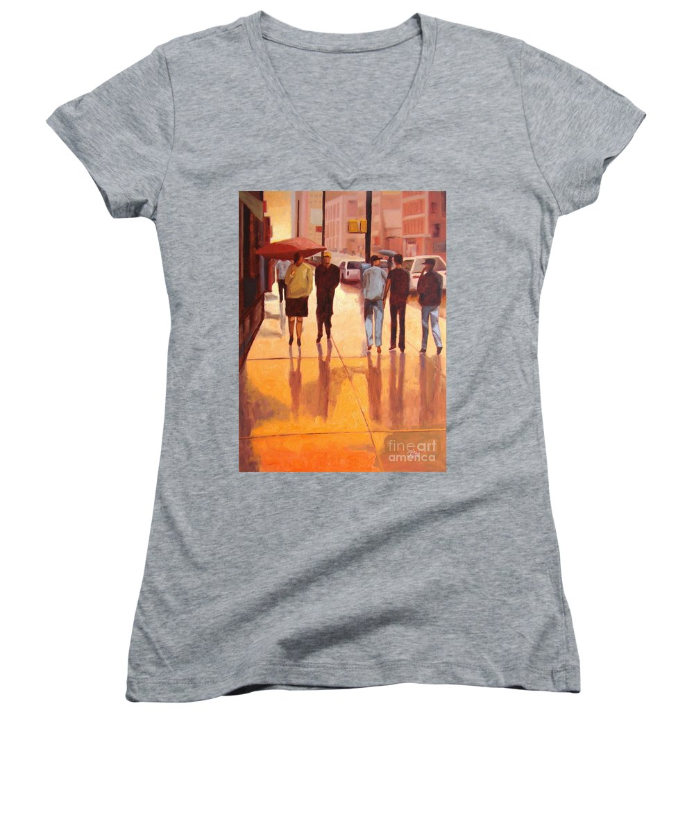 Manhattan Women's V-Neck T-Shirt featuring the painting Rain In Manhattan Number Eighteen by Tate Hamilton