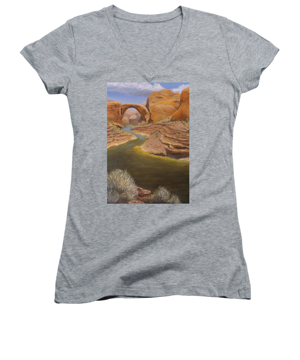 Rainbow Bridge Women's V-Neck (Athletic Fit) featuring the painting Rainbow Bridge by Jerry McElroy