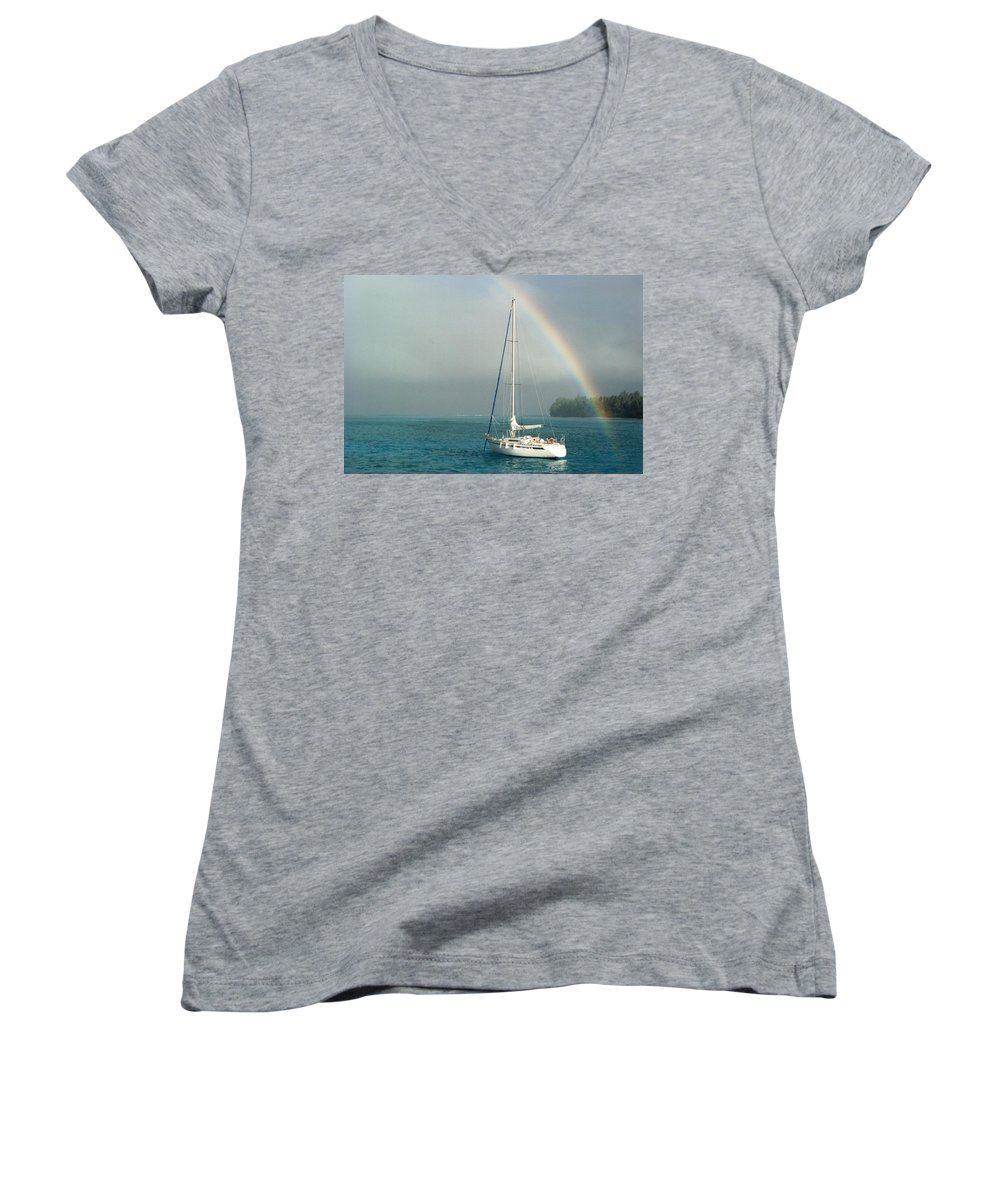 Charity Women's V-Neck T-Shirt featuring the photograph Rainbow by Mary-Lee Sanders