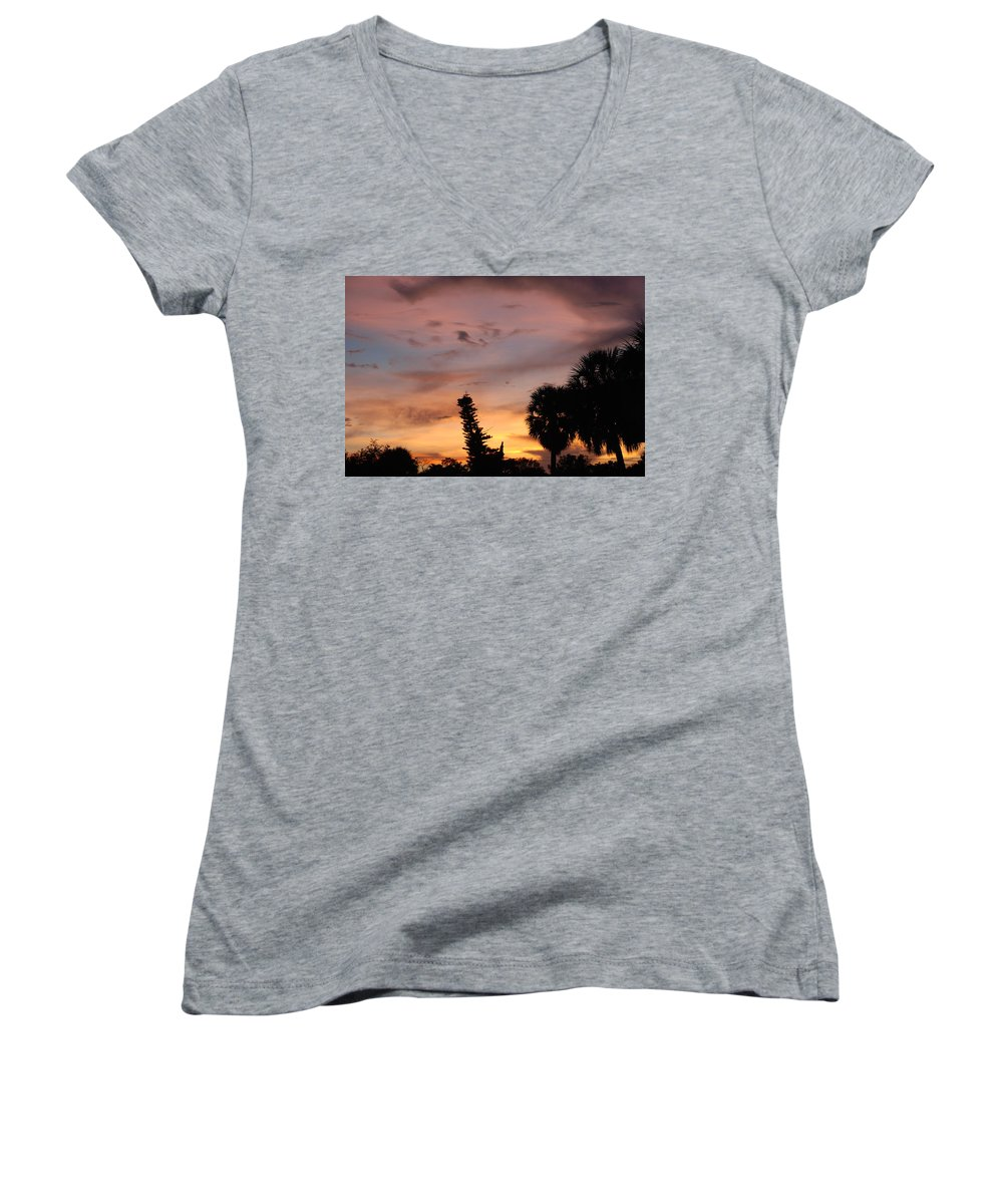 Sunset Women's V-Neck (Athletic Fit) featuring the photograph Rainbow Sunset by Rob Hans