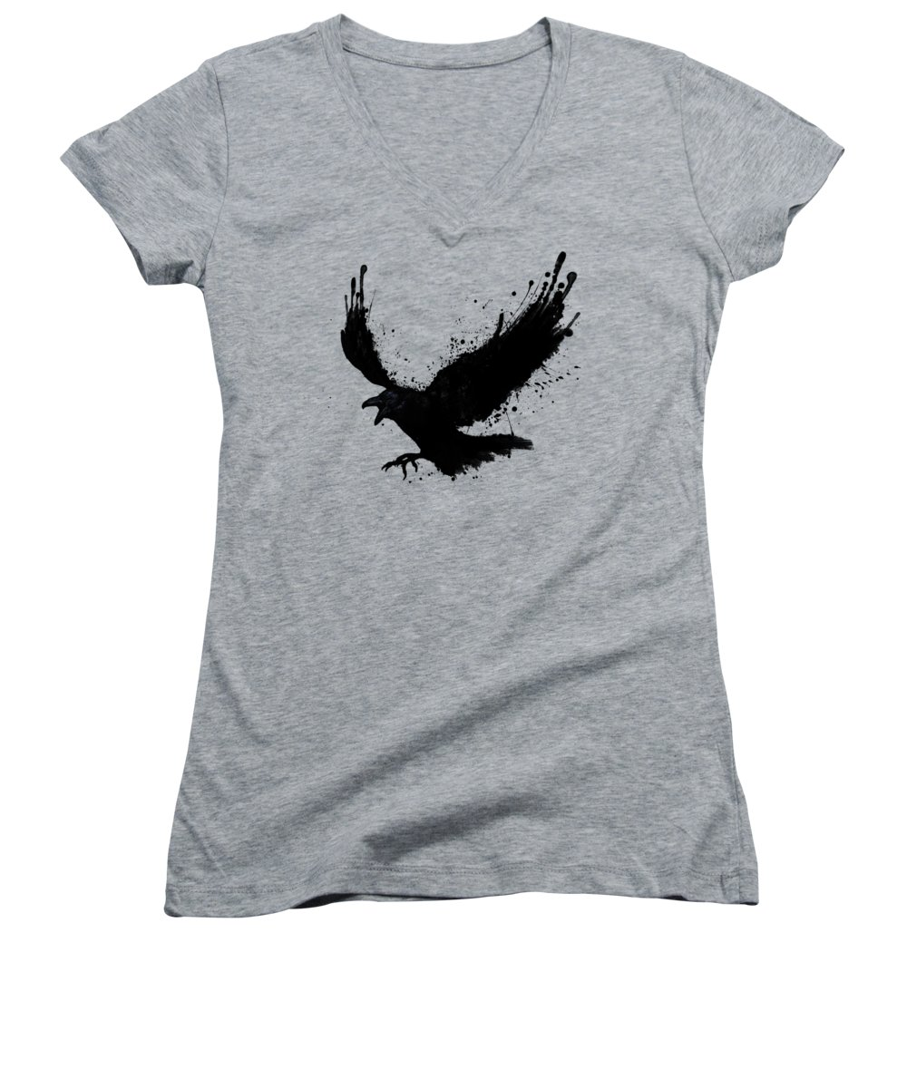 Crow Women's V-Neck T-Shirts
