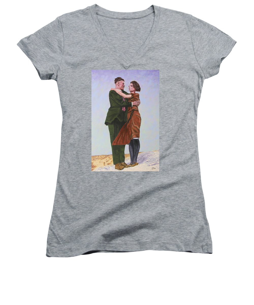 Double Portrait Women's V-Neck T-Shirt featuring the painting Ray And Isabel by Stan Hamilton