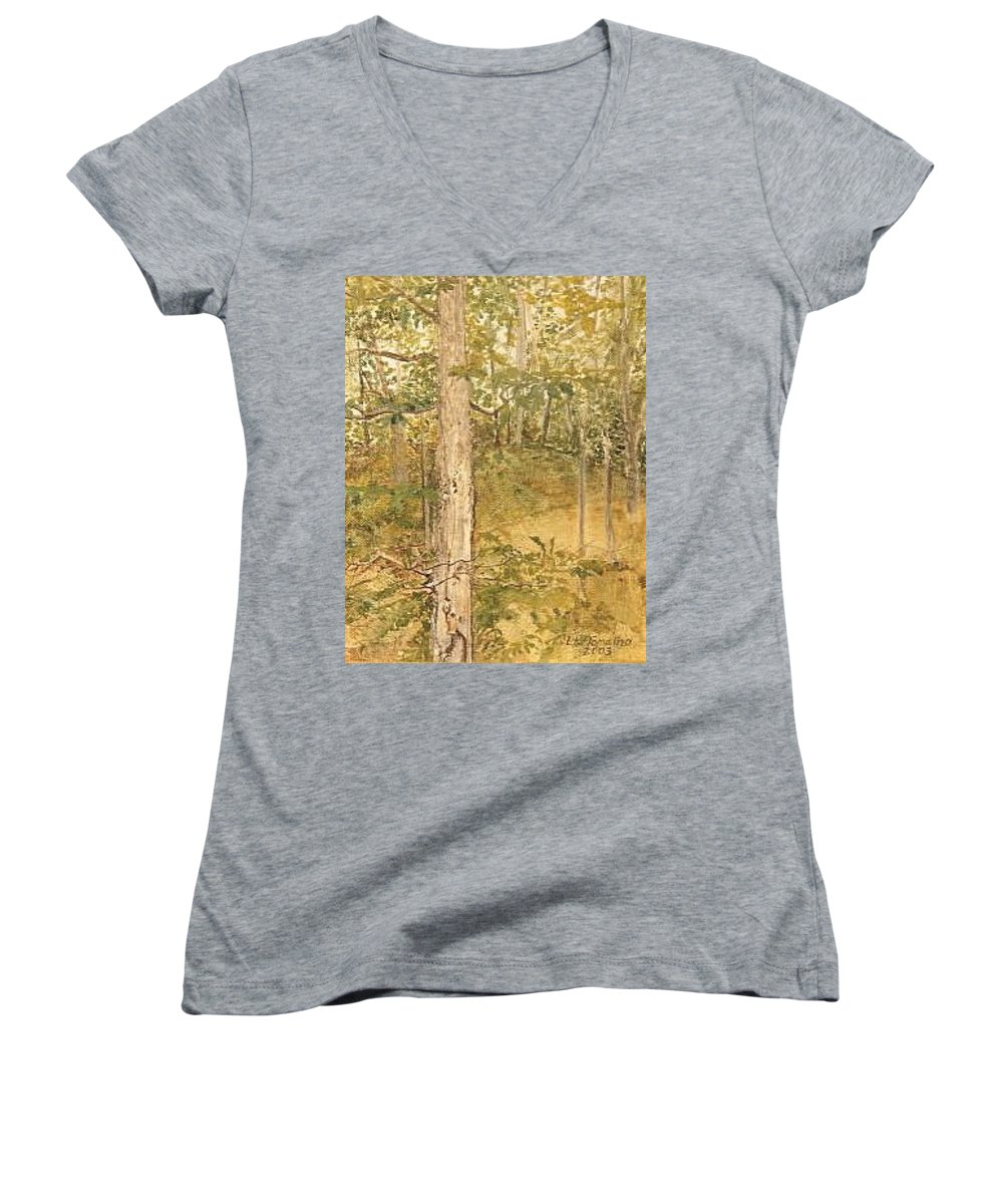 Trees Women's V-Neck T-Shirt (Junior Cut) featuring the painting Raystown Lake by Leah Tomaino