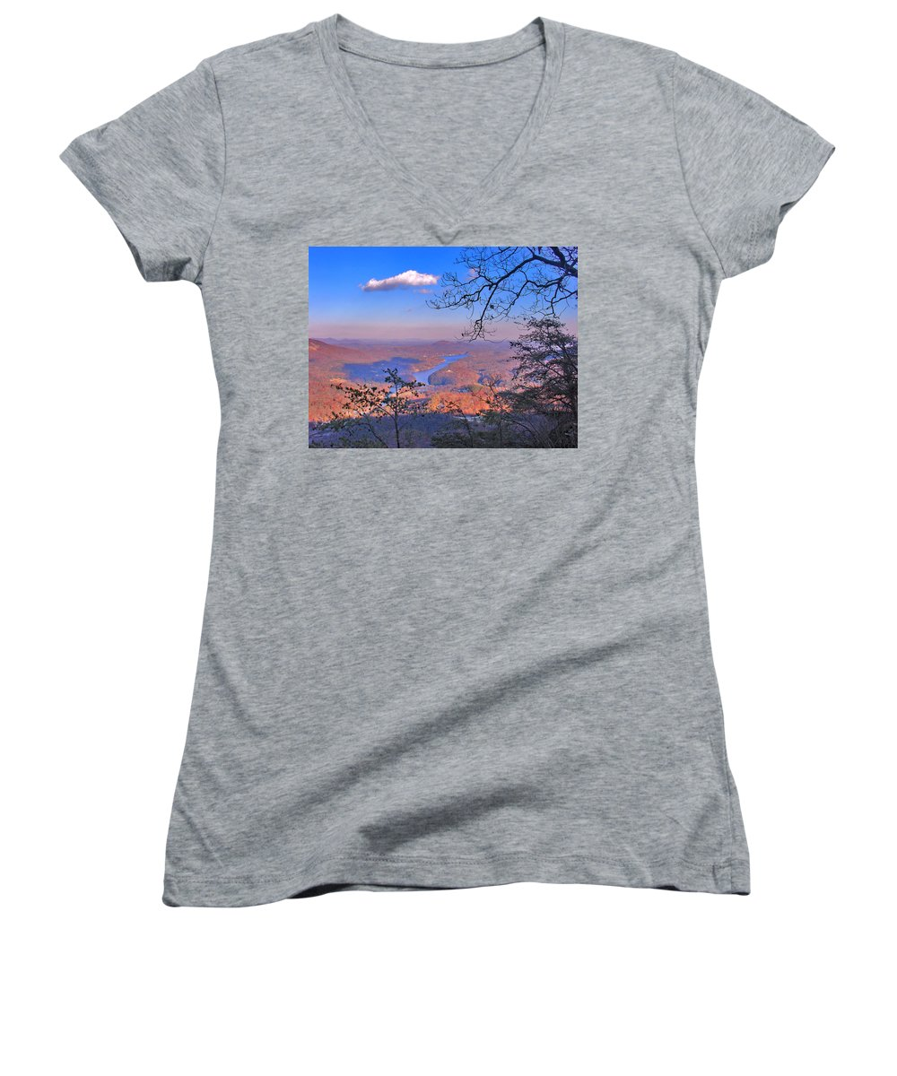 Landscape Women's V-Neck (Athletic Fit) featuring the photograph Reaching For A Cloud by Steve Karol