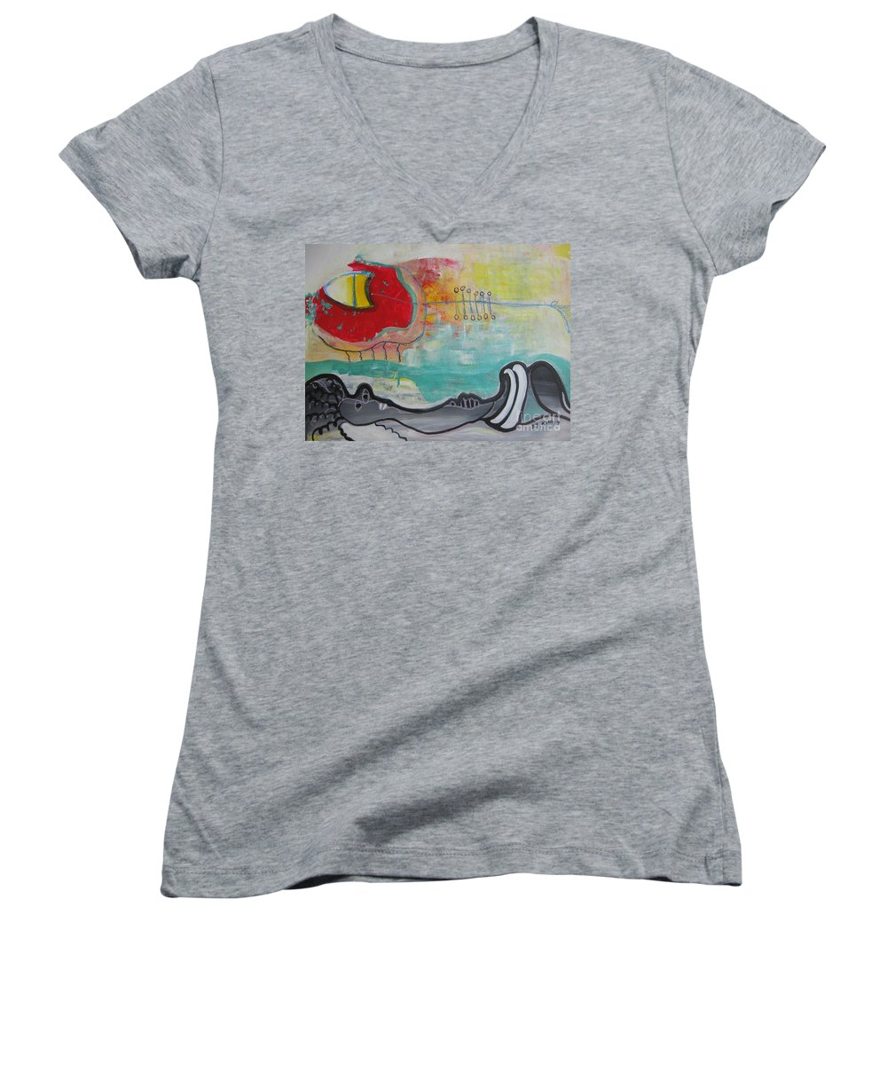 Red Paintings Women's V-Neck T-Shirt featuring the painting Read My Mind1 by Seon-Jeong Kim