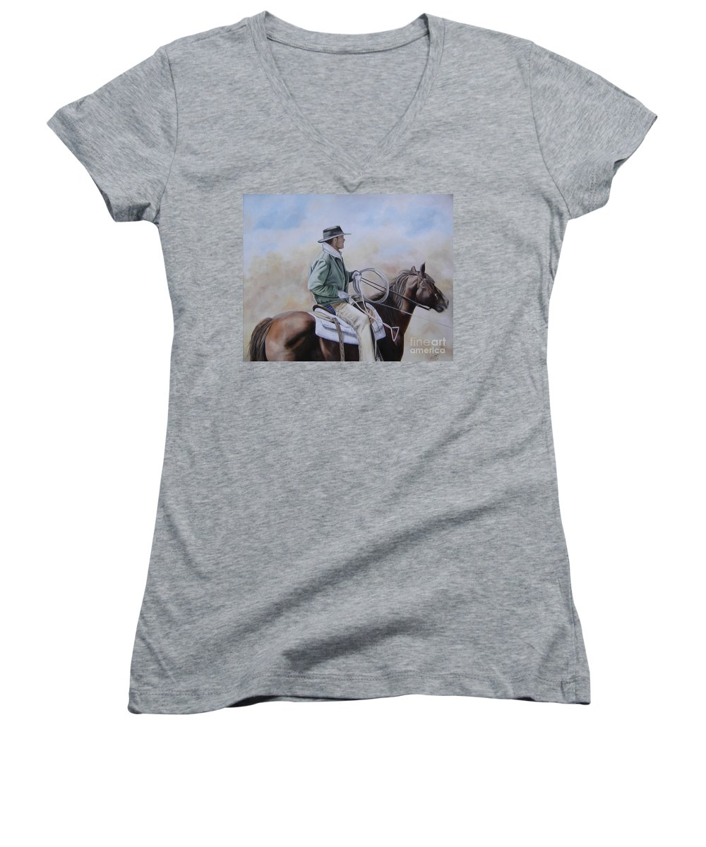 Ranch Women's V-Neck T-Shirt featuring the painting Ready To Rope by Mary Rogers