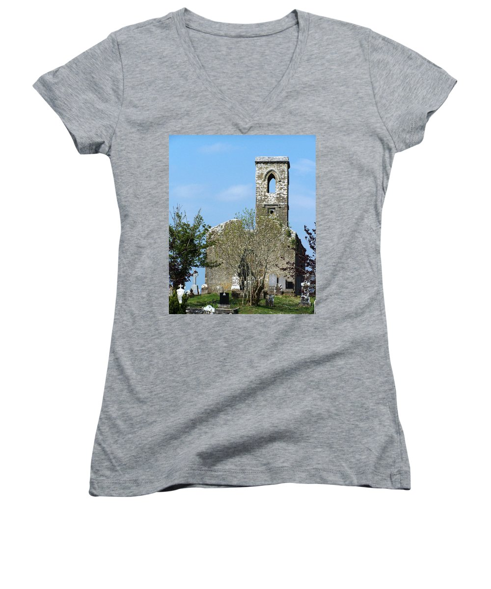 Fuerty Women's V-Neck (Athletic Fit) featuring the photograph Rear View Fuerty Church And Cemetery Roscommon Ireland by Teresa Mucha