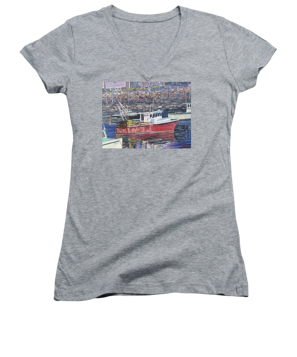 Boat Women's V-Neck T-Shirt featuring the painting Red Boat Reflections by Richard Nowak