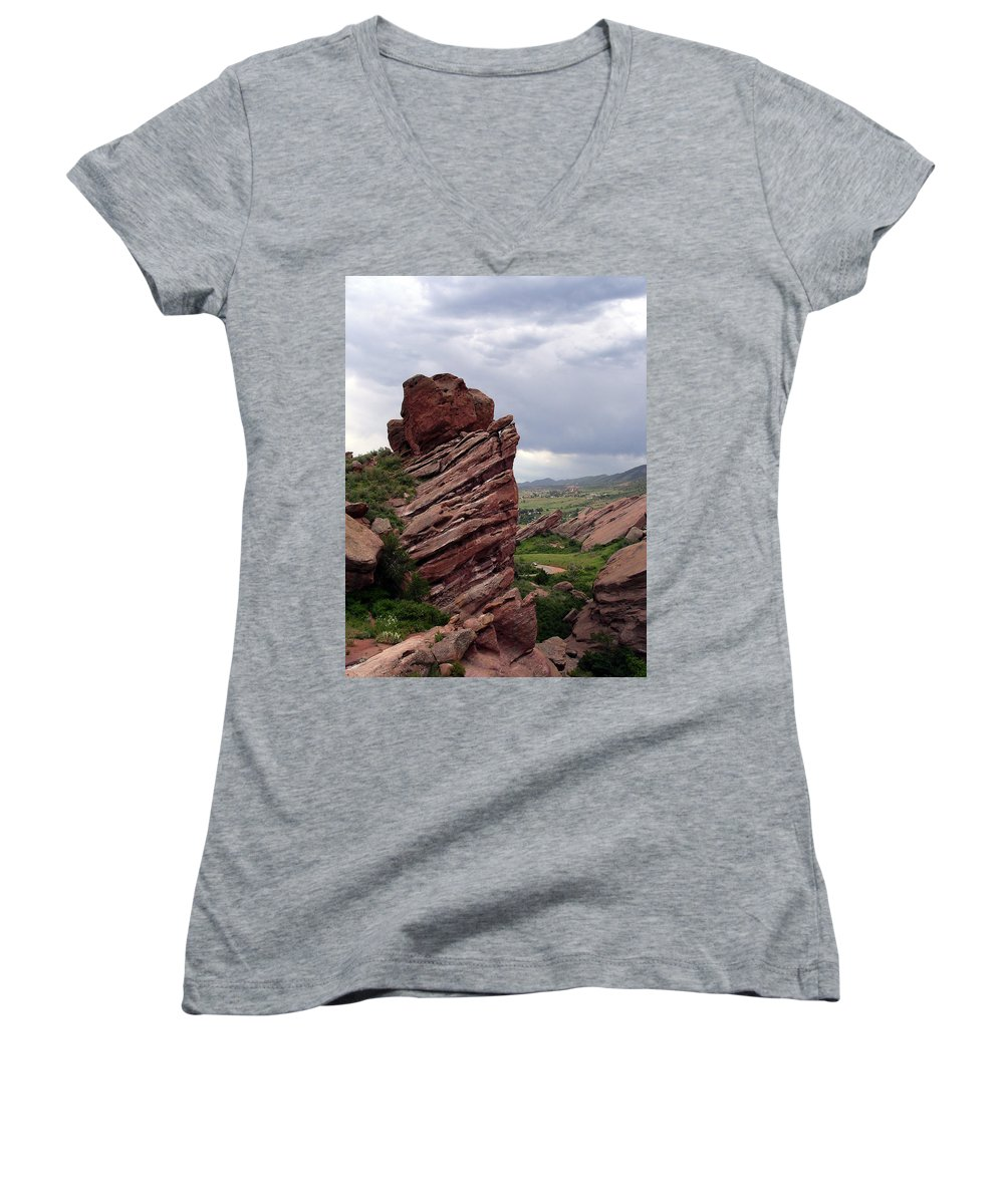 Red Rocks Women's V-Neck (Athletic Fit) featuring the photograph Red Rocks Colorado by Merja Waters