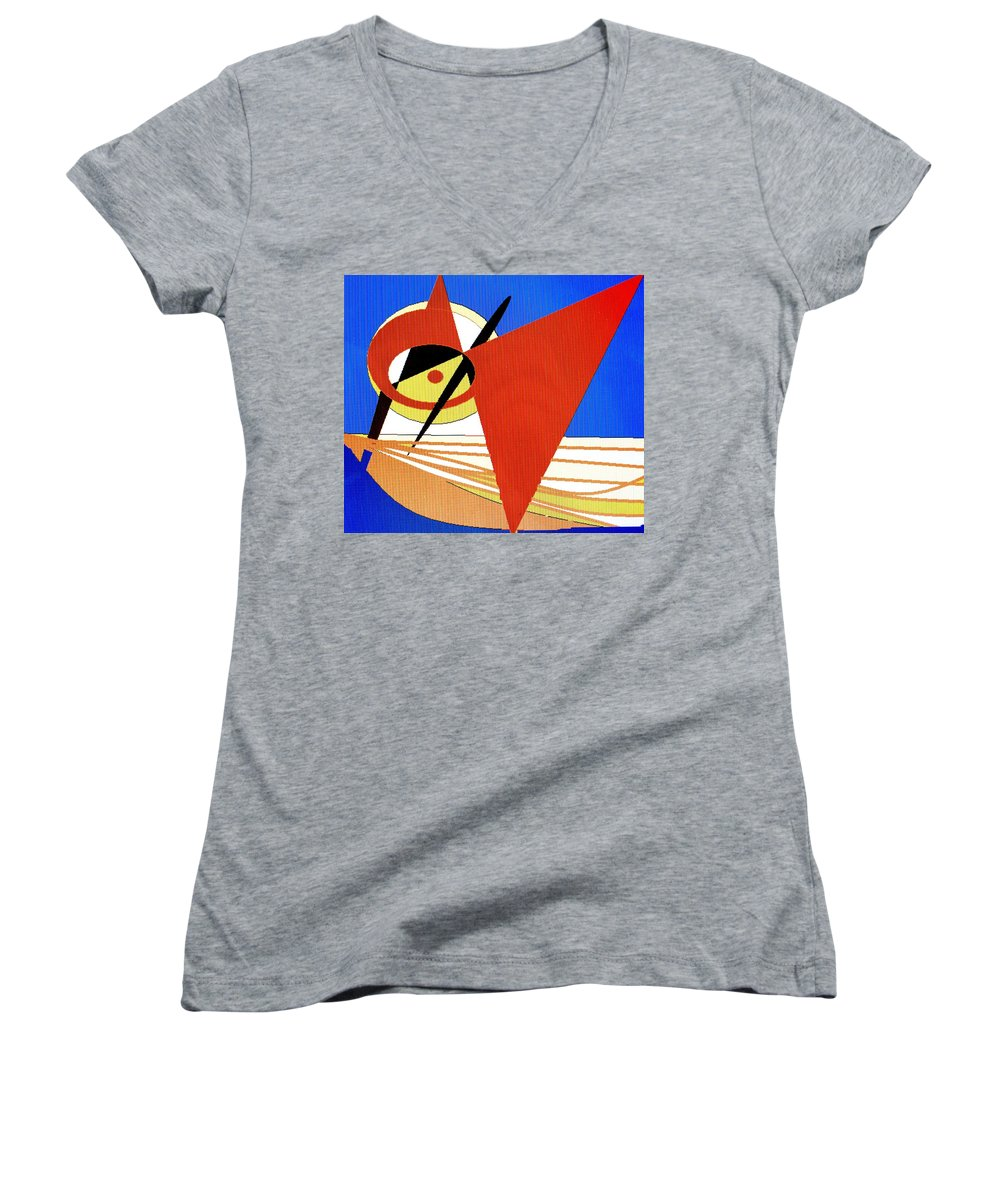 Boat Women's V-Neck (Athletic Fit) featuring the digital art Red Sails In The Sunset by Ian MacDonald