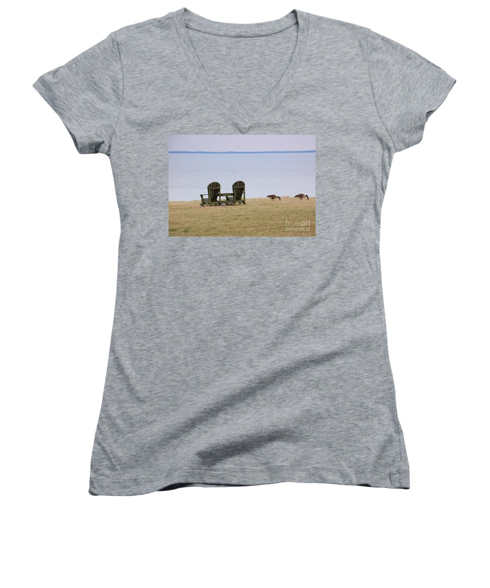 Chairs Women's V-Neck T-Shirt featuring the photograph Relax by Debbi Granruth