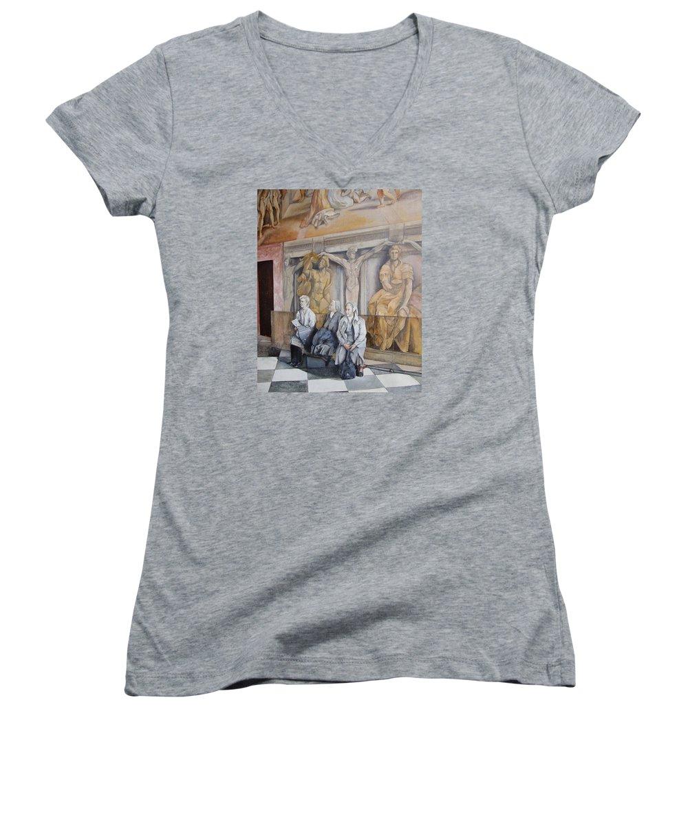 Vaticano Women's V-Neck T-Shirt featuring the painting Reposo En El Vaticano by Tomas Castano