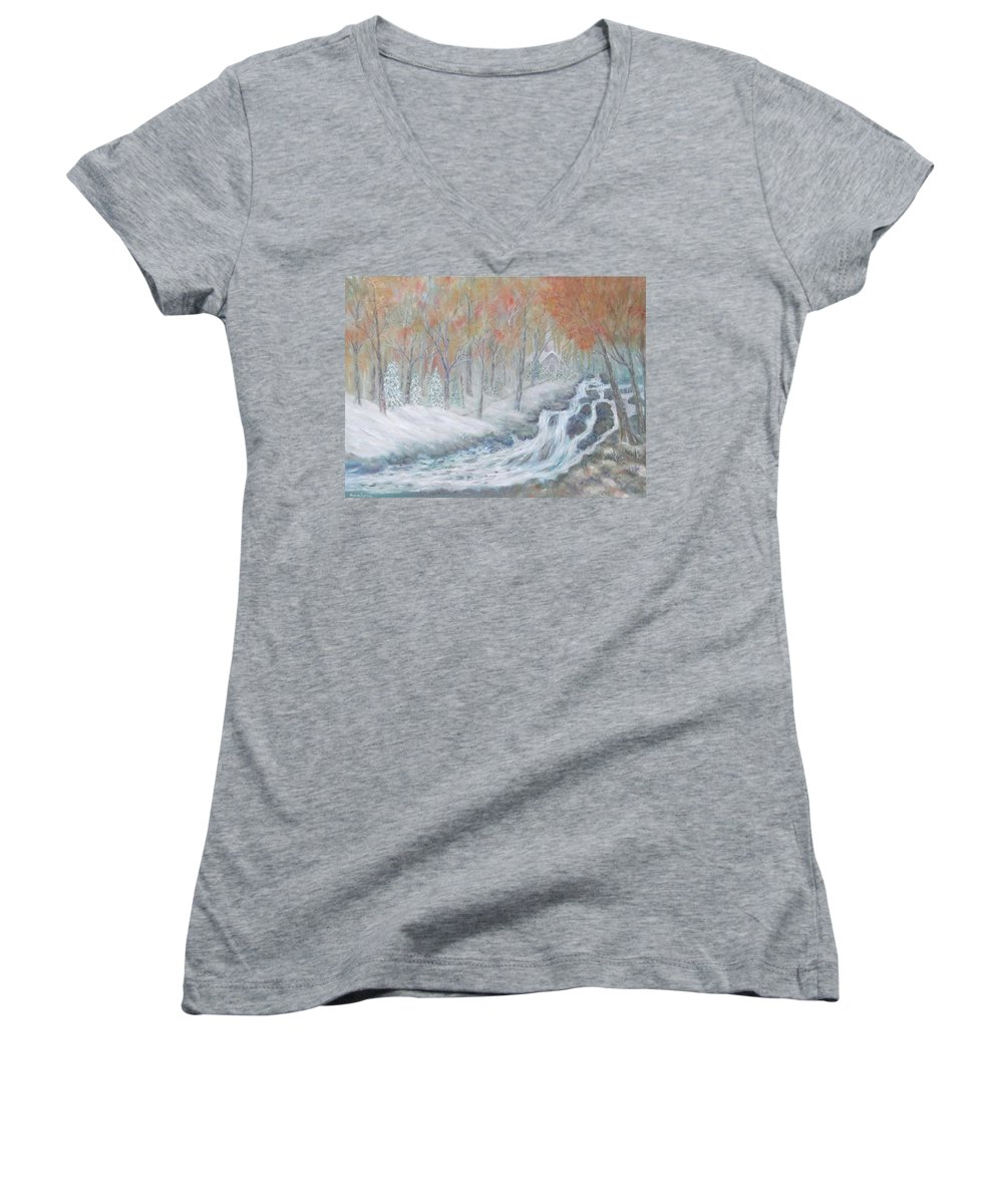 Snow; Landscape; Church Women's V-Neck T-Shirt featuring the painting Reverence by Ben Kiger