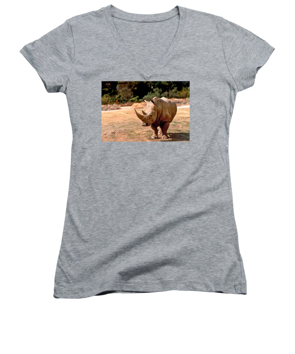 Animal Women's V-Neck T-Shirt featuring the painting Rhino by Steve Karol