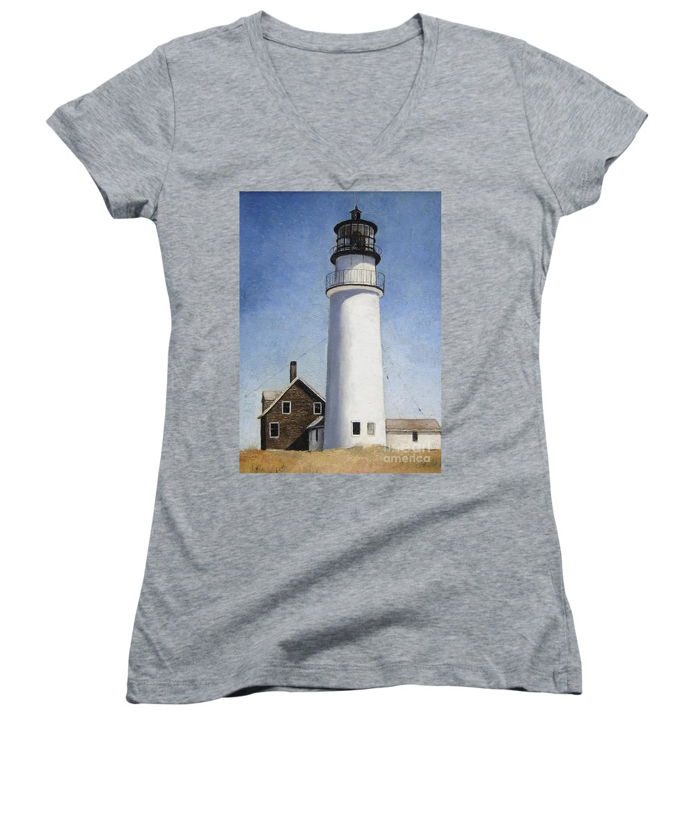 Lighthouse Women's V-Neck T-Shirt featuring the painting Rhode Island Lighthouse by Mary Rogers