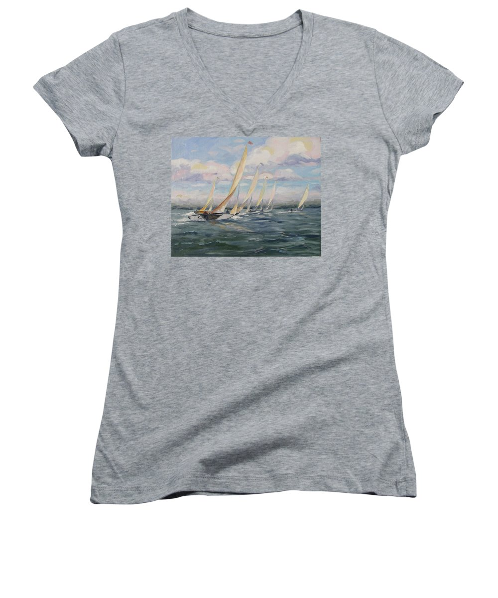 Riding Waves Women's V-Neck (Athletic Fit) featuring the painting Riding The Waves by Jay Johnson