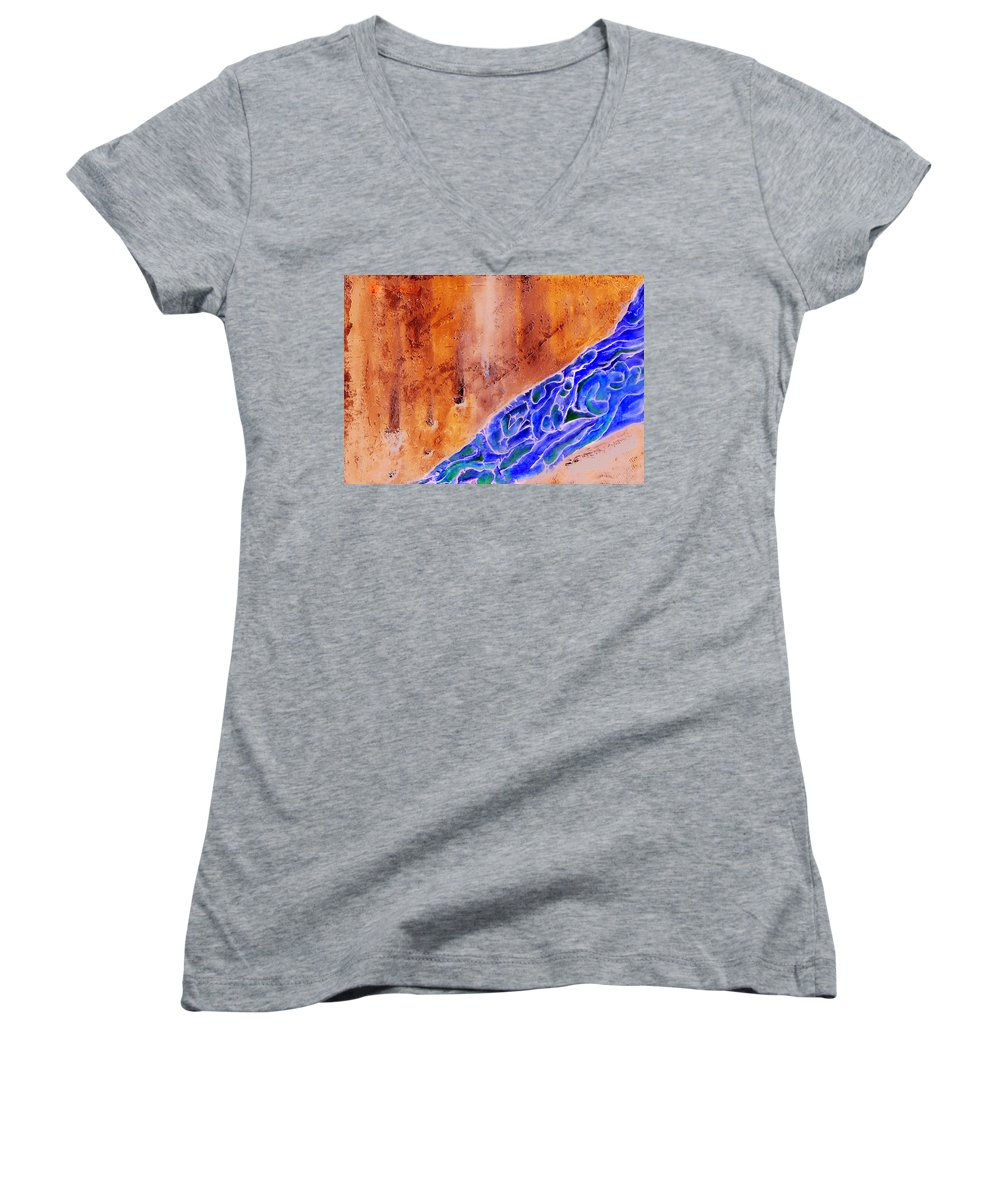 Life Flow River Water People Birth Women's V-Neck T-Shirt featuring the mixed media River Of Life by Veronica Jackson