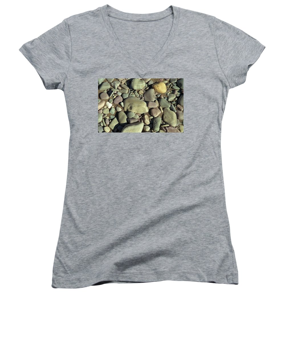 River Rock Women's V-Neck T-Shirt featuring the photograph River Rock by Richard Rizzo
