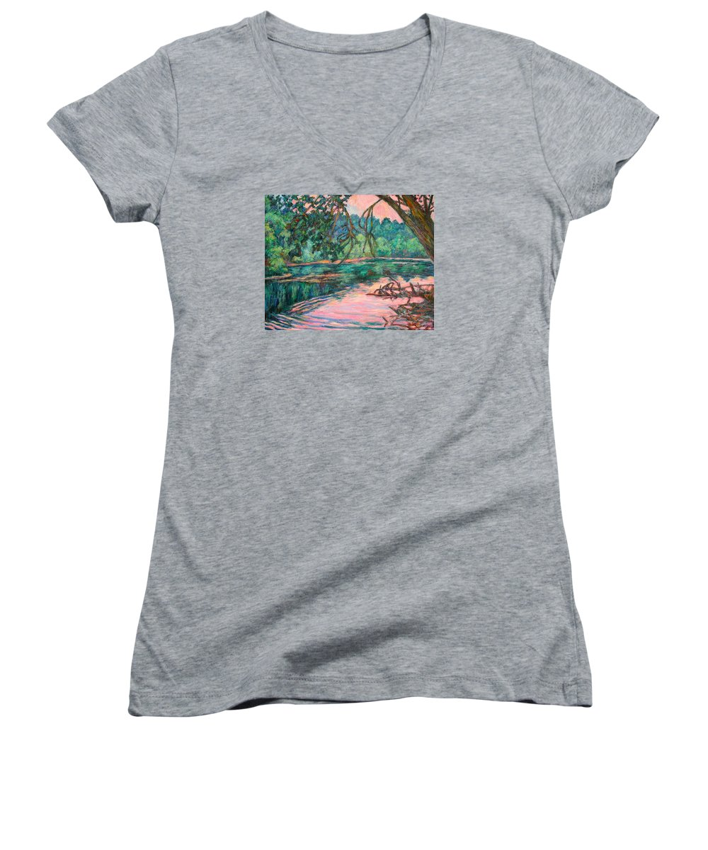 Riverview Park Women's V-Neck (Athletic Fit) featuring the painting Riverview At Dusk by Kendall Kessler