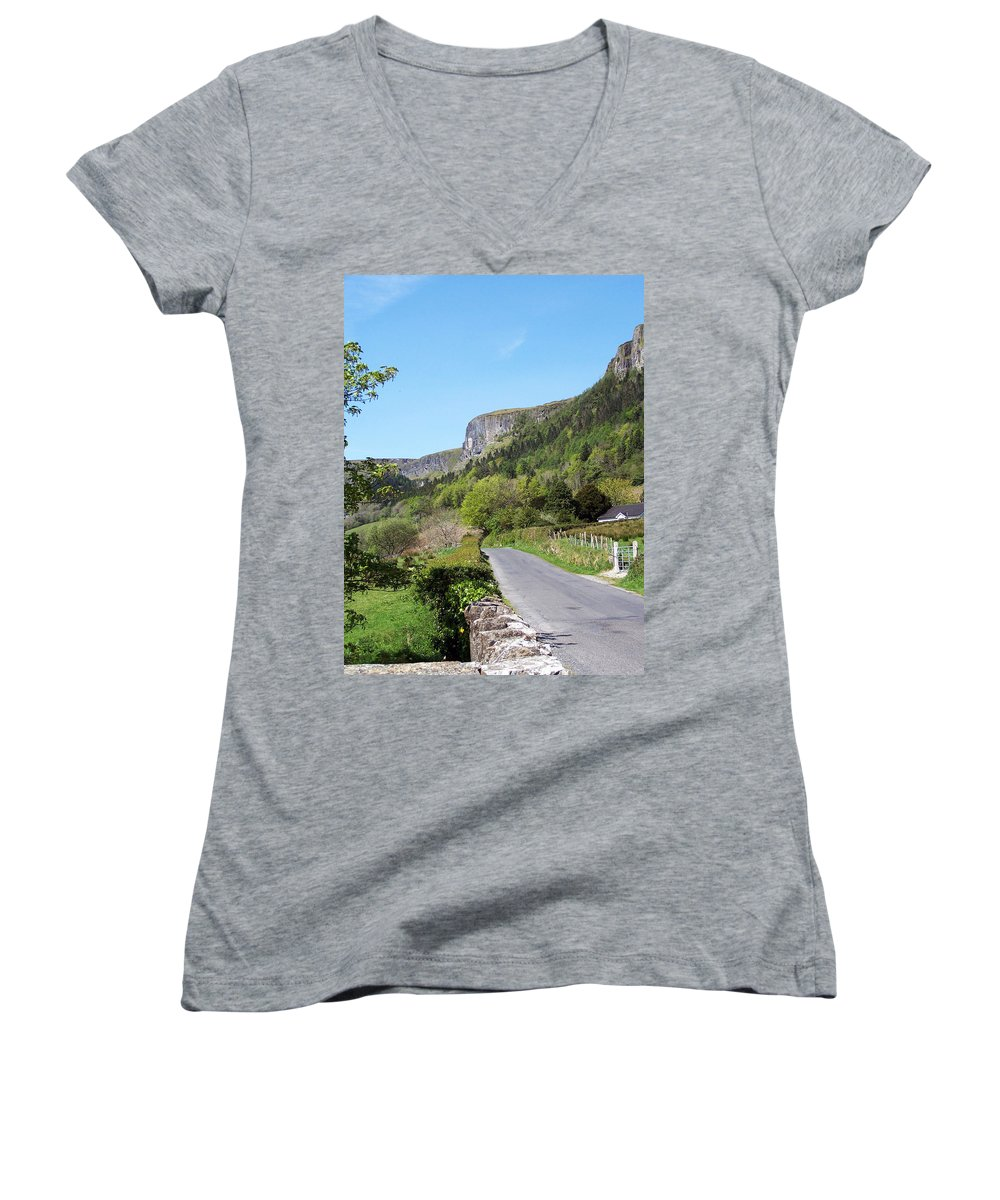 Irish Women's V-Neck (Athletic Fit) featuring the photograph Road To Benbulben County Leitrim Ireland by Teresa Mucha