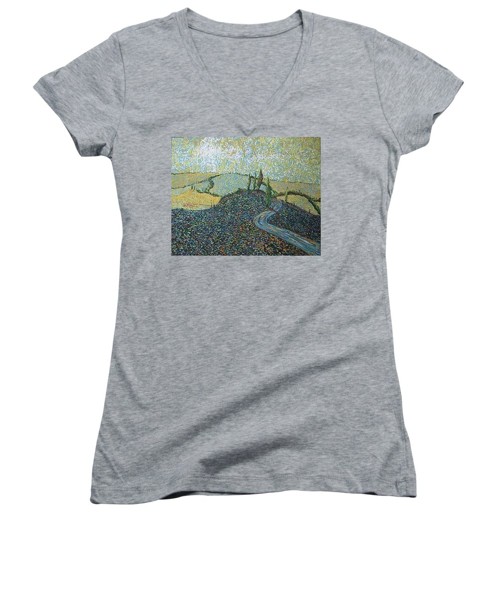 Landscape Women's V-Neck (Athletic Fit) featuring the painting Road To Tuscany by Stefan Duncan