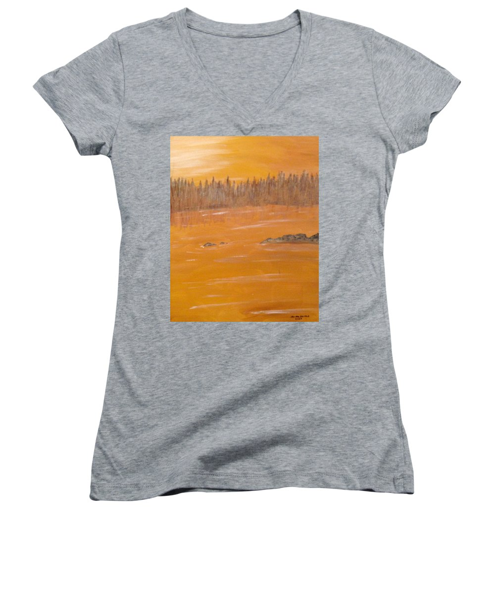 Northern Ontario Women's V-Neck (Athletic Fit) featuring the painting Rock Lake Morning 2 by Ian MacDonald
