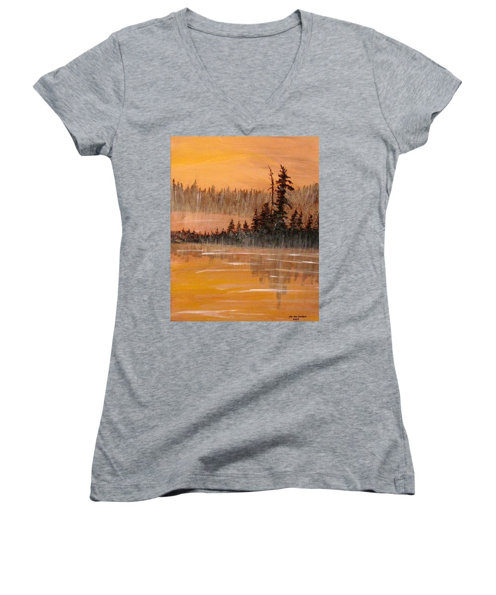 Northern Ontario Women's V-Neck T-Shirt featuring the painting Rock Lake Morning 3 by Ian MacDonald