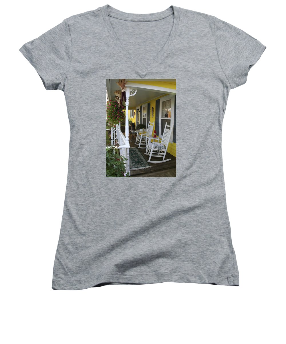 Rocking Chair Women's V-Neck (Athletic Fit) featuring the photograph Rockers On The Porch by Margie Wildblood