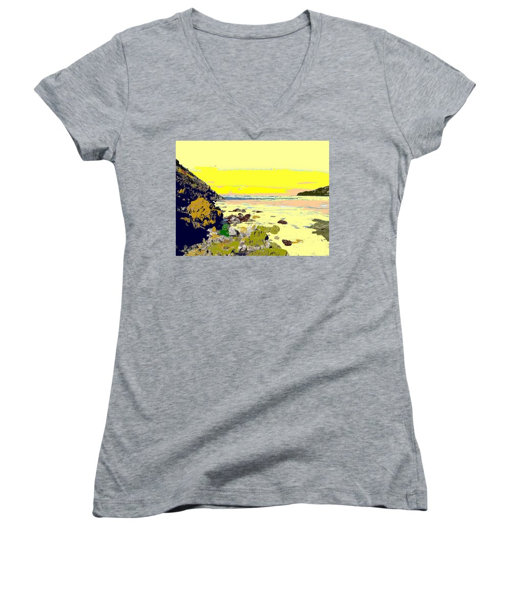 Beach Women's V-Neck (Athletic Fit) featuring the photograph Rocky Beach by Ian MacDonald